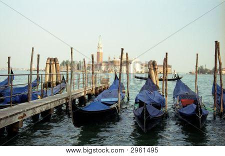 Venice Harbor With Gondolas