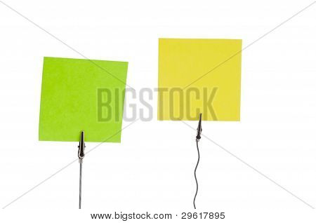 Green and Yellow papers in paper holders