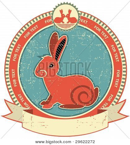Rabbit Label On Old Paper Texture.vintage Style