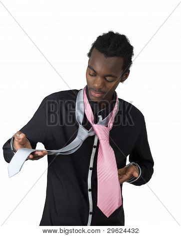 African American Who Hesitates Between Two Tie