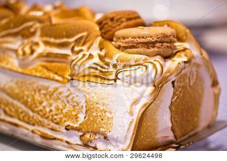 norwegischer Omelett (oder gebackene Alaska) Kuchen Makro