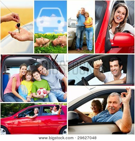 Smiling happy family and a family car. Collage.