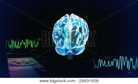 El cerebro de cristal detrás y gráfico de la onda