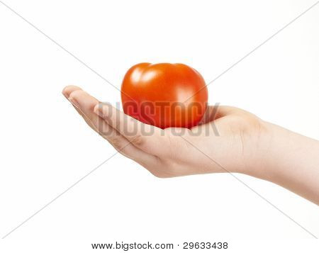Childs hand with tomato and palm facing up