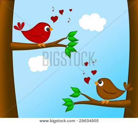 Valentines Day Lovebirds Pair Sitting On Tree