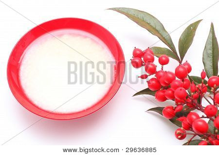 Japanese Sweet Mild Sake And Nandina Domestica