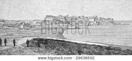 Melilla, the place of the Spanish-American War. Engraving by Shlinner. Published in magazine