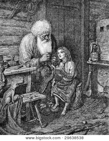 The old man and his granddaughter. Engraving by Multanovsky from picture by painter Shakhovsky. Published in magazine