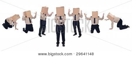 Business School Concept With Box Head Businessman
