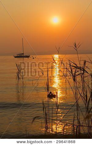 Romantic Sunset On Lake Garda (italy)