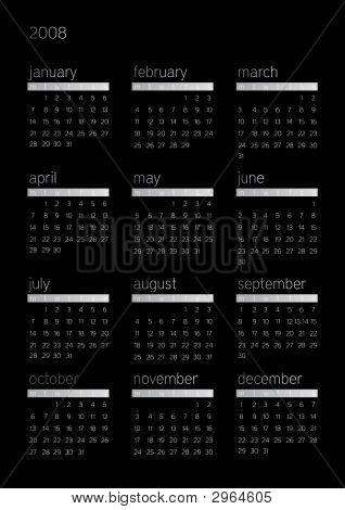 2008 Black Calendar
