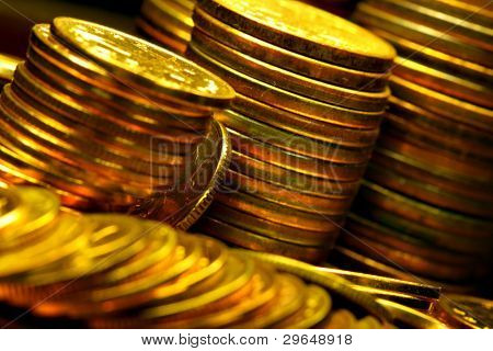Stacks of the gold coins close up