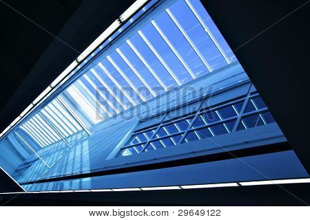 Wide angle shot of modern interior with skylight window