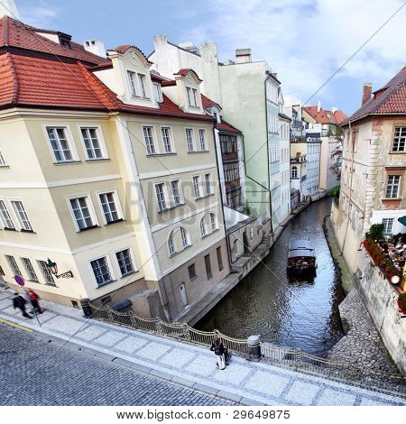 Narrow canal at Prague. Czech Republic