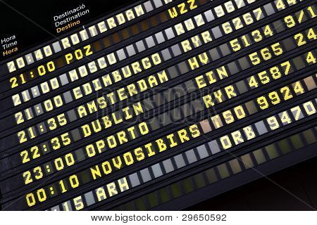 Departure timetable at the airport close-up