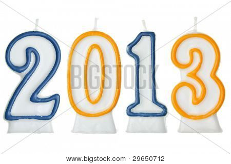 new year 2013 - candles isolated over the white background