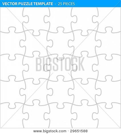 Complete puzzle / jigsaw template for print (25 pieces)