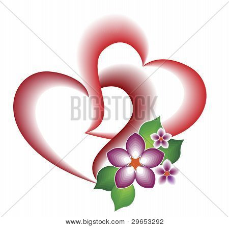 A Decorative Element Of The Two Intertwined Hearts