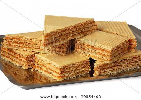 Sweet Caramel Waffles On White Background