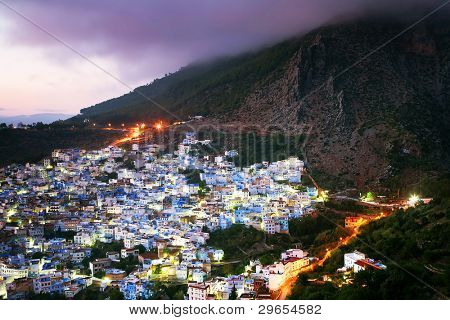 Sunset light over Chefchaouen Medina, Morocco, Africa