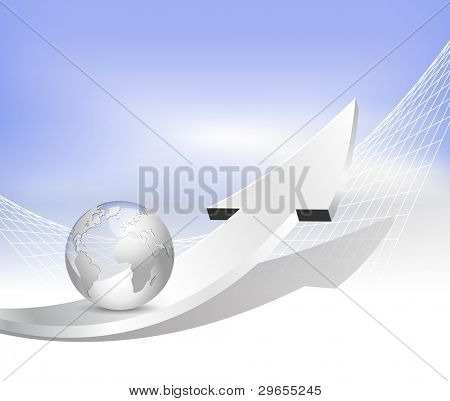 Arrow, globe and lines - business background with blue to white gradient