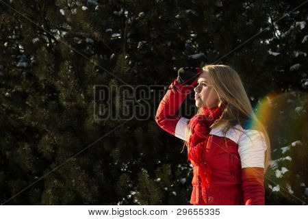 Woman In Forest Looking At The Horizon