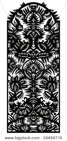 Vertical Decorative Pattern With Birds And Flowers