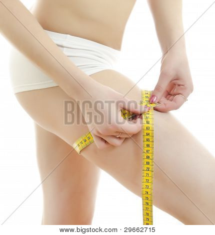 Woman Measuring Her Leg. Isolated On White Background