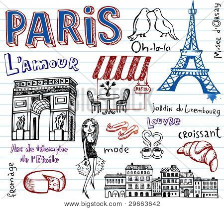 Paris vector doodles