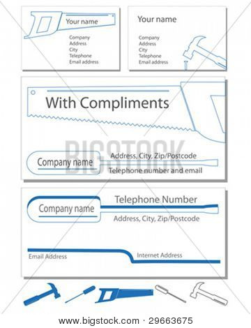 Two business card designs, a compliment slip and letter head in vector format.