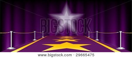 vector horizontal entertainment background with purple carpet