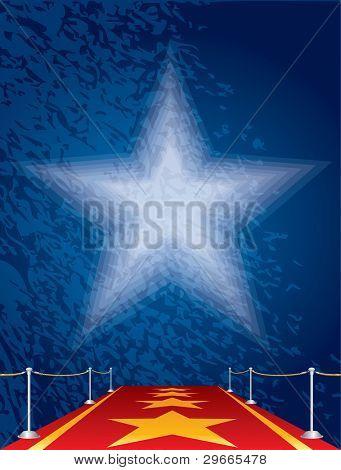 vector entertainment background with stars on red carpet