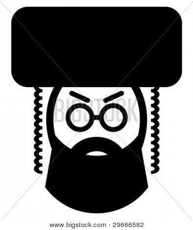 Vector icon of a religious jewish man.