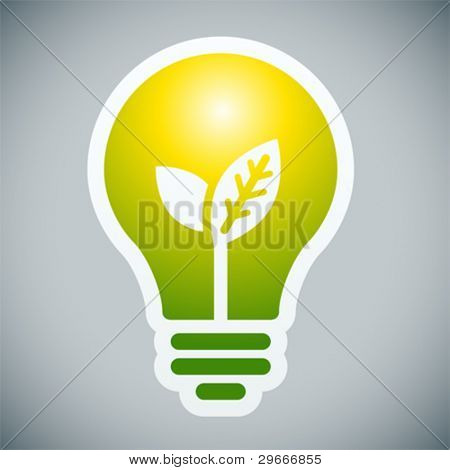 Bulb light with young shoots inside on grey background.