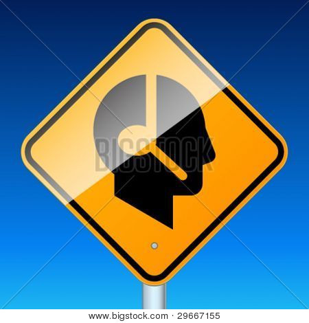 Profile with handsfree. High-detailed vector sign