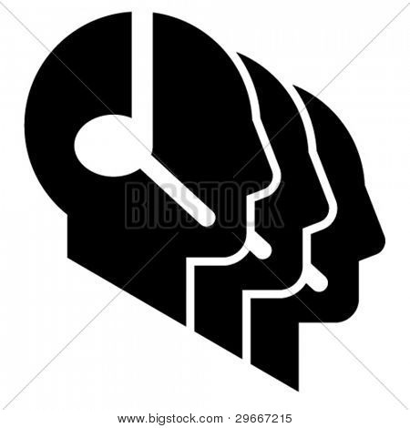 Call center icon. Three head profile silhouettes with headsets
