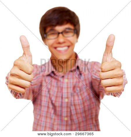 Happy teenager in checked shirt shows thumb up by both hands. Isolated on white background, focus on fingers, mask included
