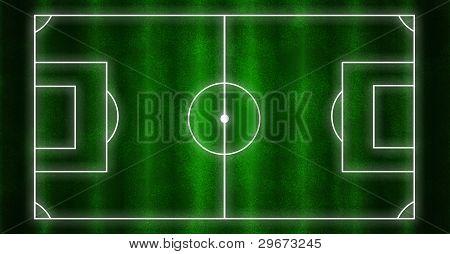 Campo de futebol com linhas brancas e fundo de grama verde