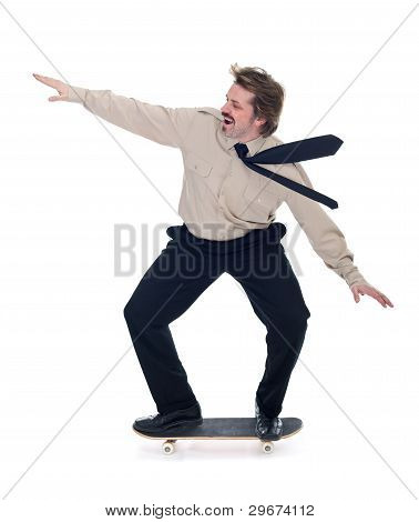 Businessman On Skateboard - Isolated