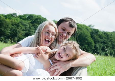 happy young playful family