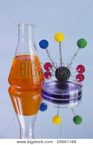 orange flask and petri dish