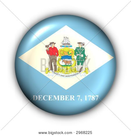Round Button Usa State Flag Of Delaware