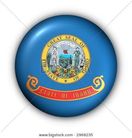 Round Button Usa State Flag Of Idaho