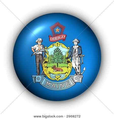 Round Button Usa State Flag Of Maine
