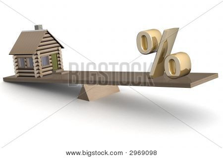 House And Percent On Scales. 3D Image.