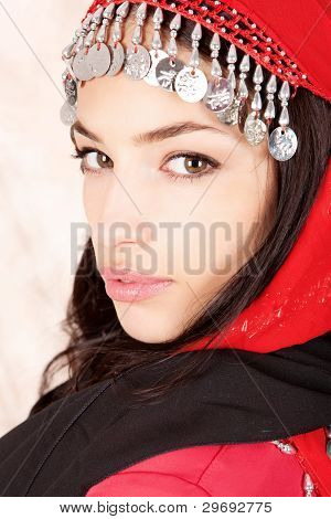 Pretty Young Woman Cover With Red Scarf