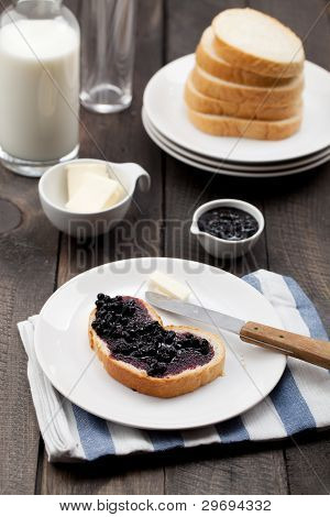 Jam Sandwich On Breakfast Table
