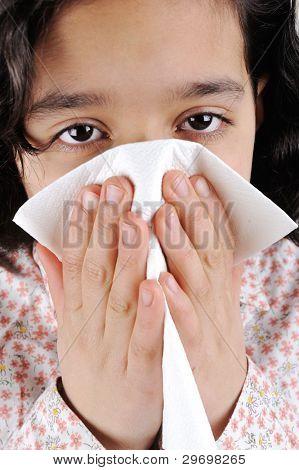Little sick girl having flu