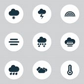 Climate Icons Set With Light Snow Shower, Fog, Misty And Cloudy Synoptic Elements. Isolated  Illustr poster