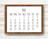May Year 2019 Vector Monthly Calendar. Week Starting From Sunday. Hand Drawn Text In A Wooden Frame  poster